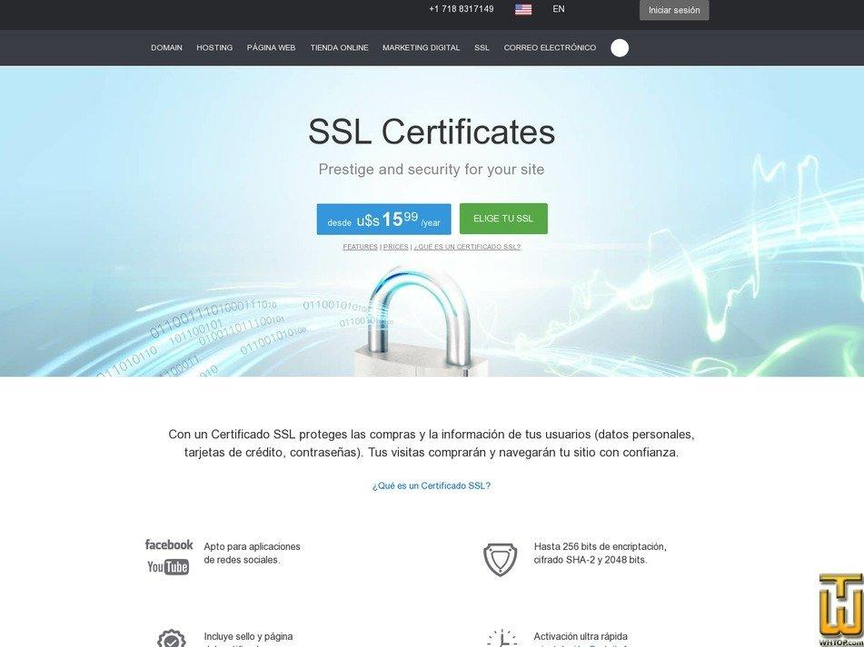screenshot of SSL Certificate Sectigo Positive from donweb.com