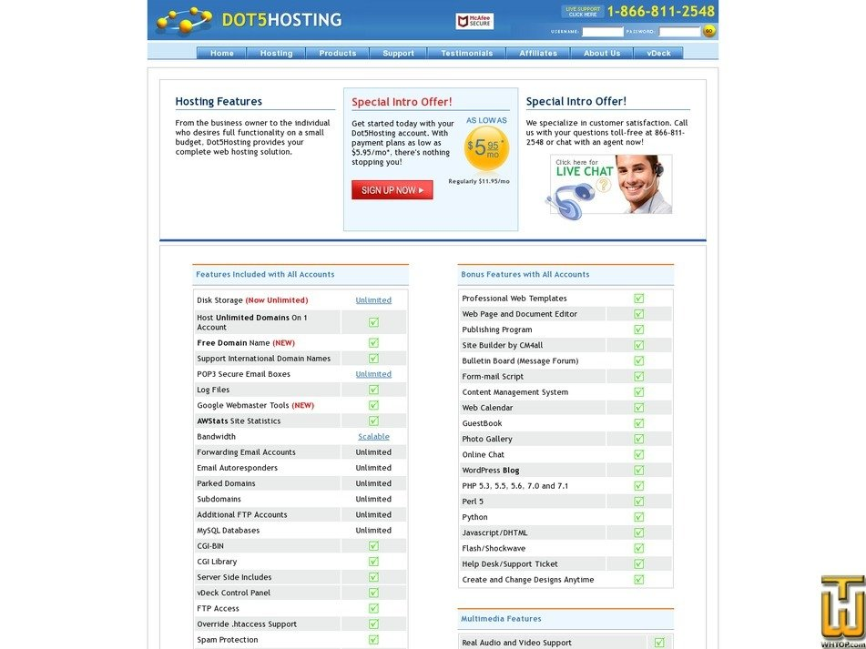 screenshot of Personal Plan from dot5hosting.com