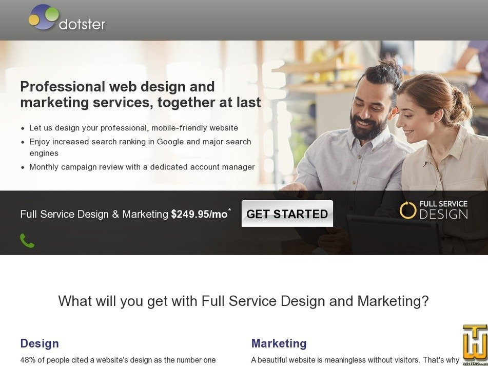 Screenshot of Professional web design from dotster.com