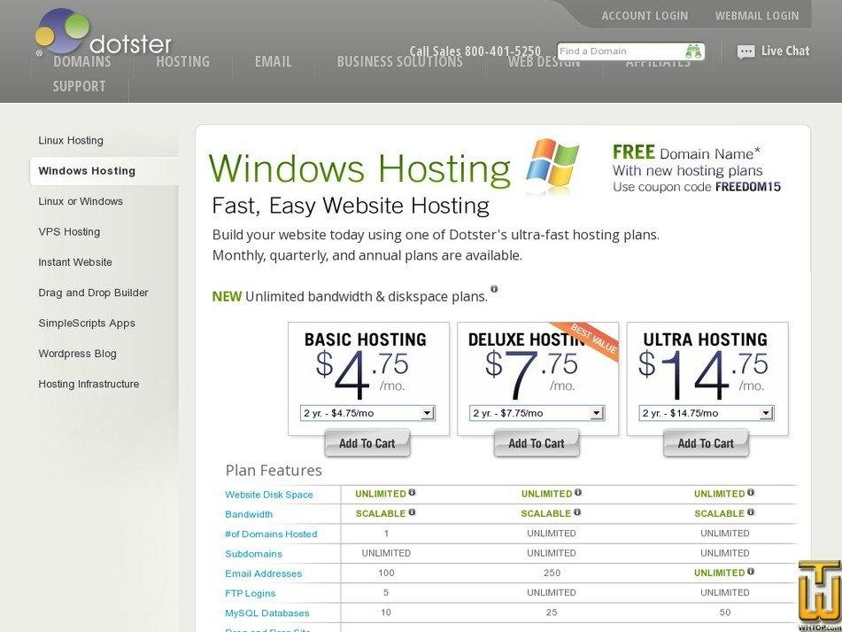 Screenshot of Basic Hosting from dotster.com