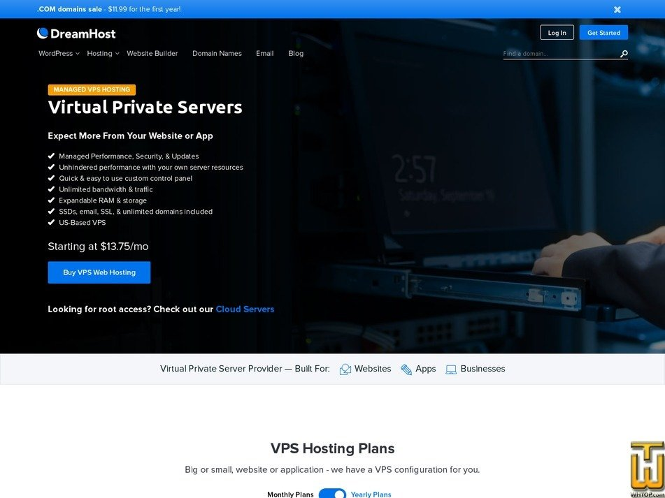 screenshot of VPS Business from dreamhost.com
