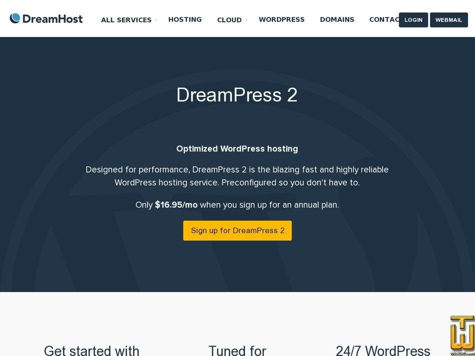 Screenshot of DreamPress from dreamhost.com