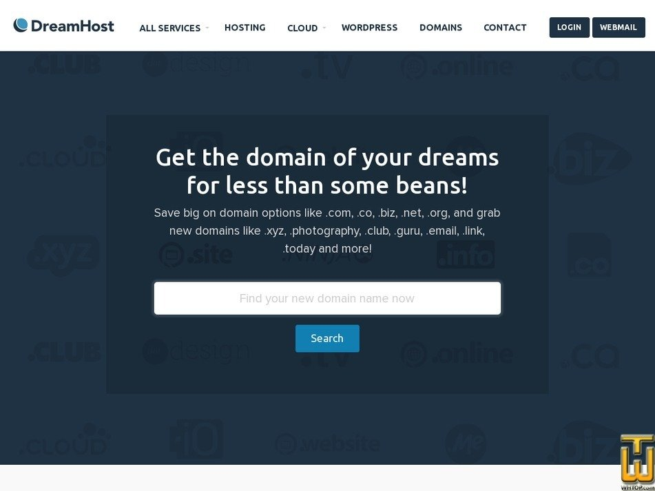 screenshot of .com from dreamhost.com