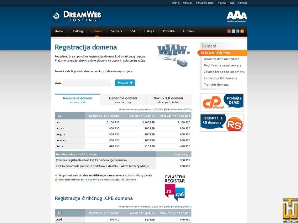 screenshot of .com from dreamwebhosting.net