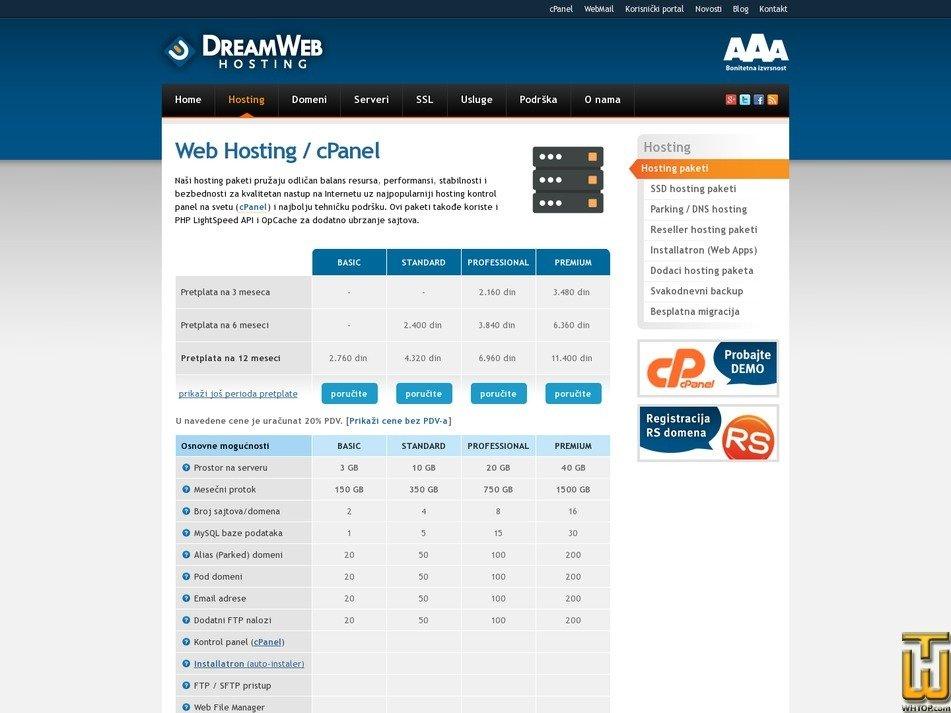 screenshot of PREMIUM from dreamwebhosting.net