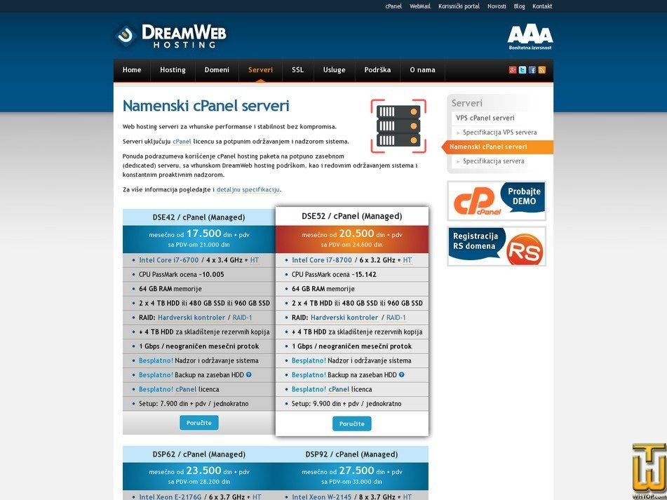 screenshot of DSE42 / cPanel (Managed) from dreamwebhosting.net
