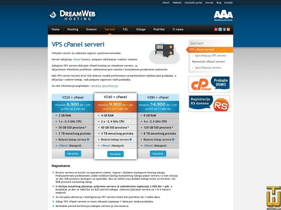 screenshot of VZ80 + cPanel from dreamwebhosting.net