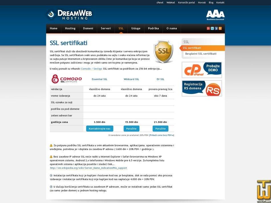 screenshot of Wildcard SSL from dreamwebhosting.net