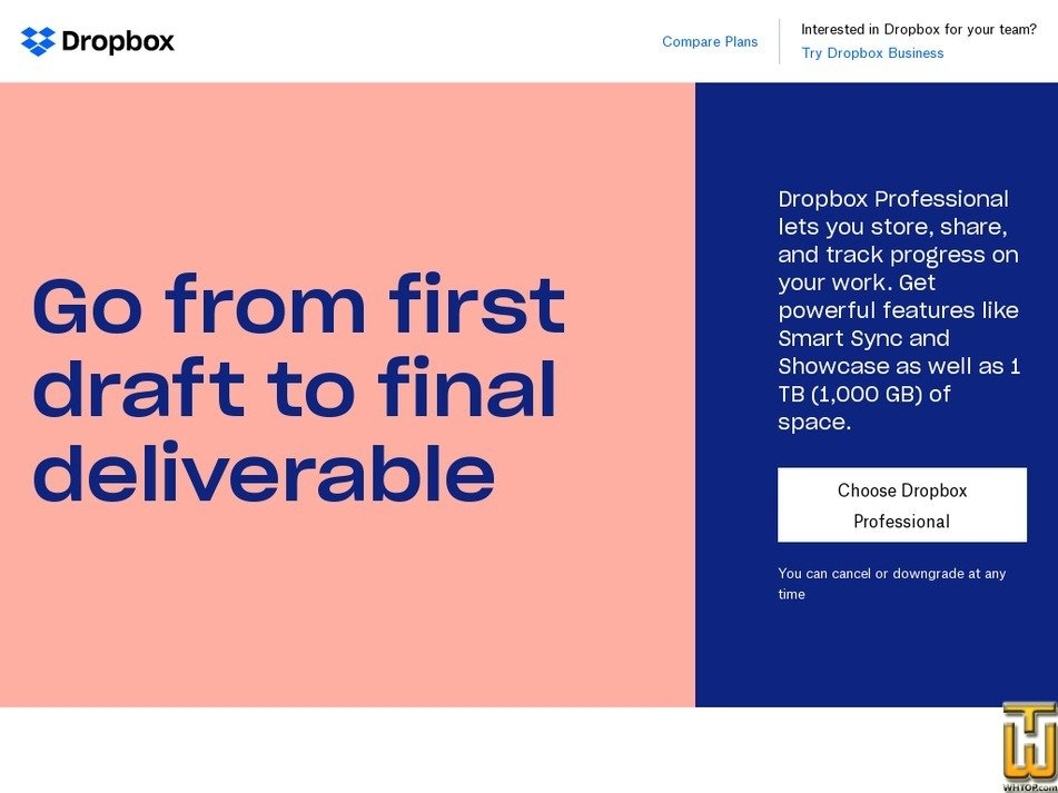 Screenshot of Professional from dropbox.com