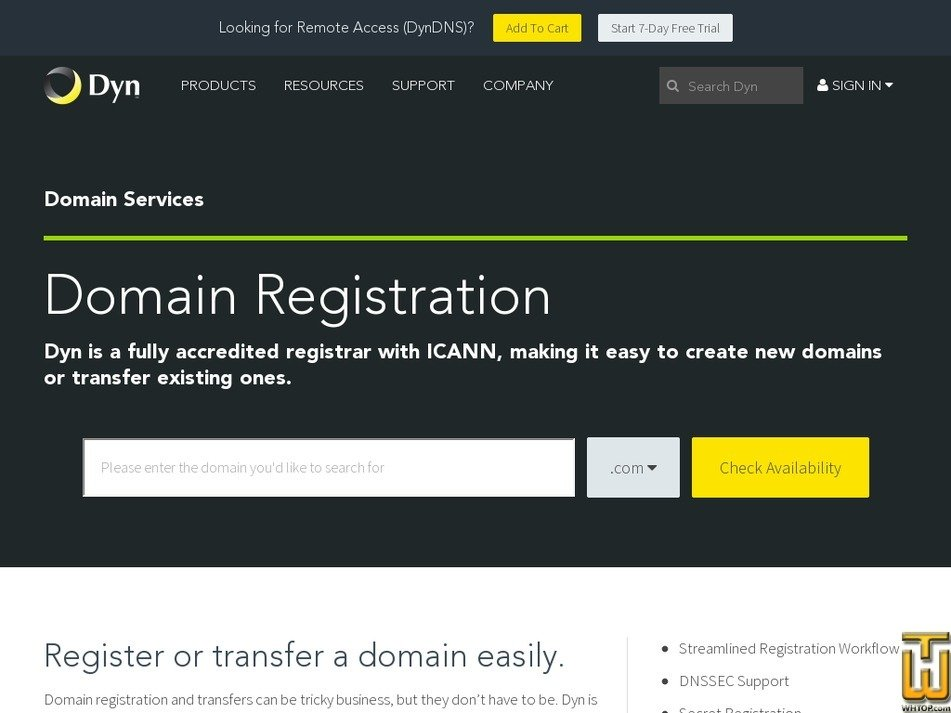 Screenshot of .com from dyn.com