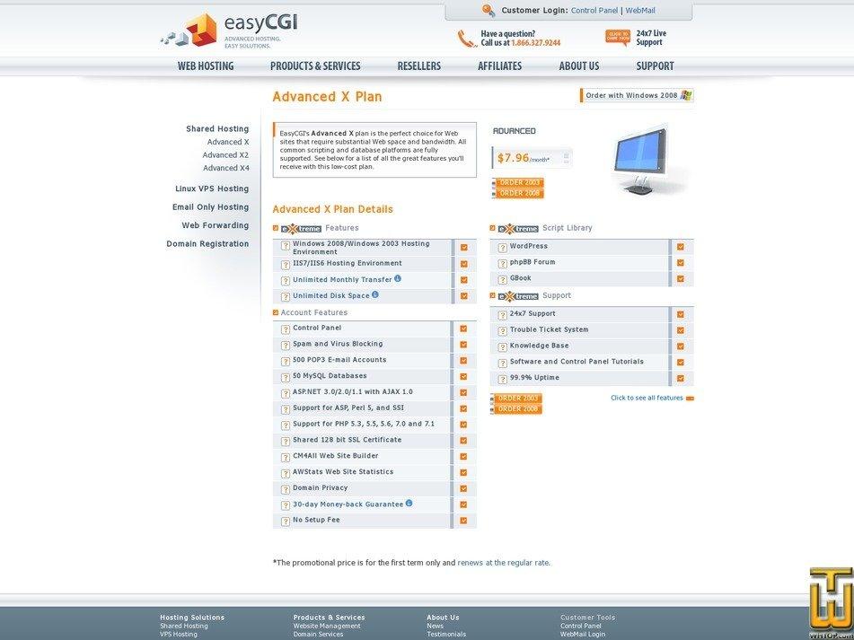 Screenshot of Advance X from easycgi.com