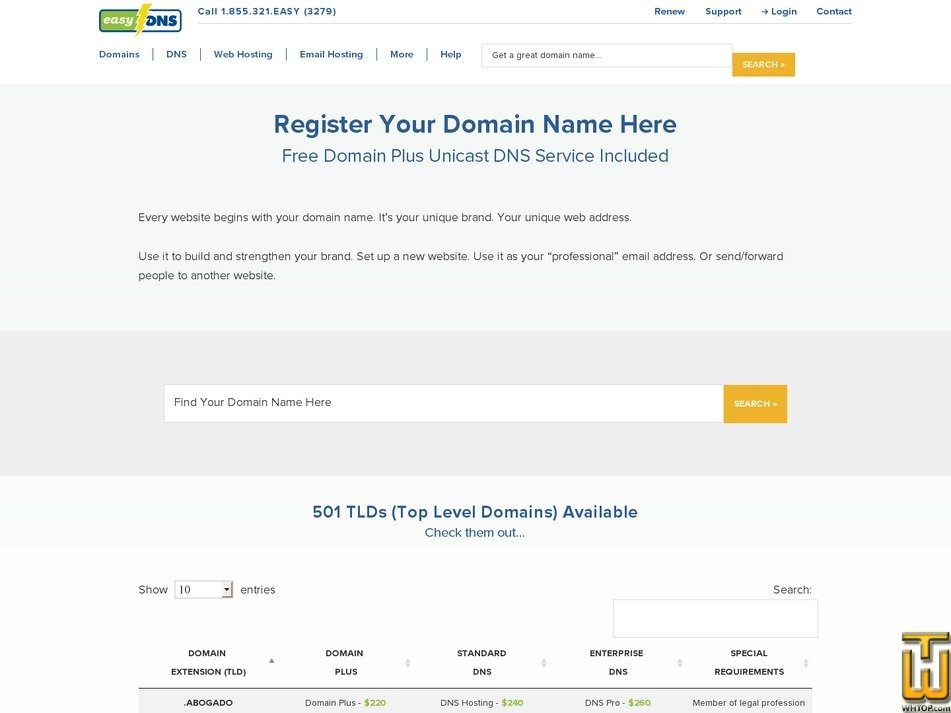 Screenshot of .com from easydns.com