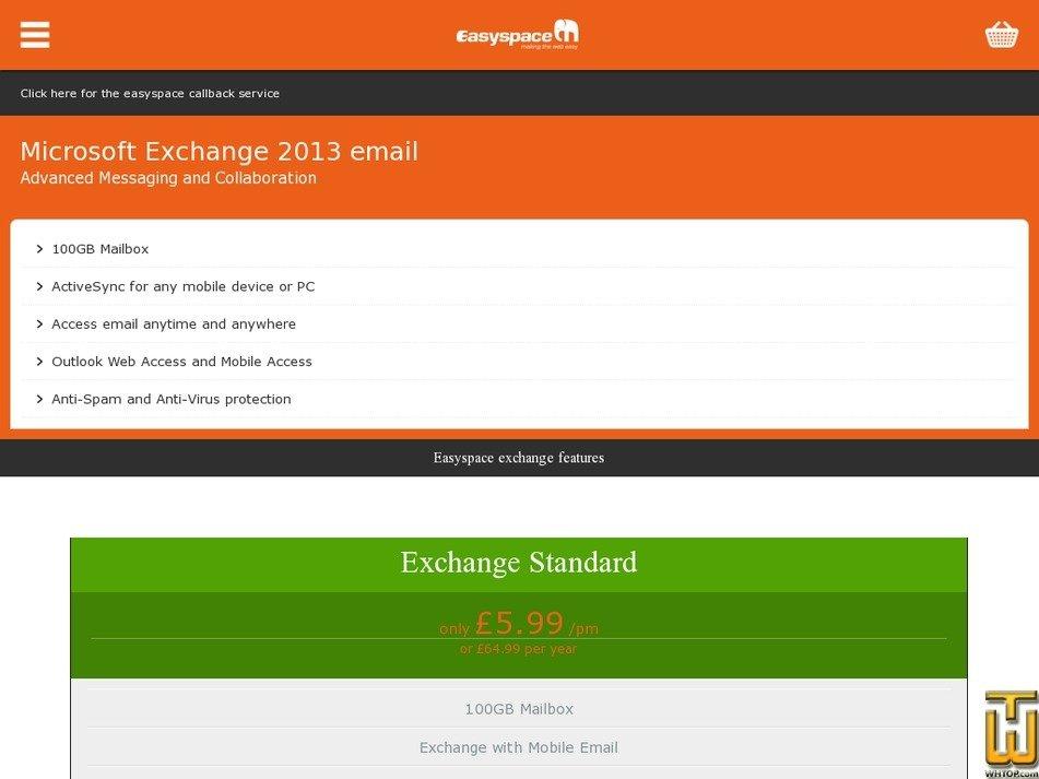 Screenshot of Exchange Standard from easyspace.com