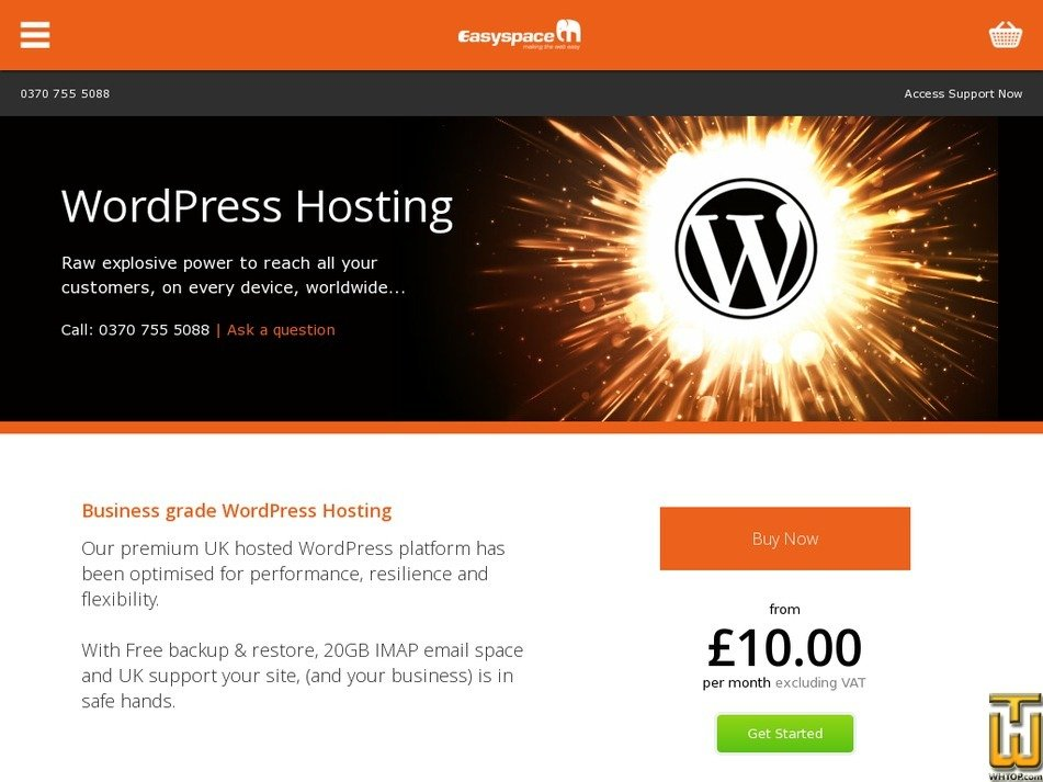 Screenshot of WordPress from easyspace.com