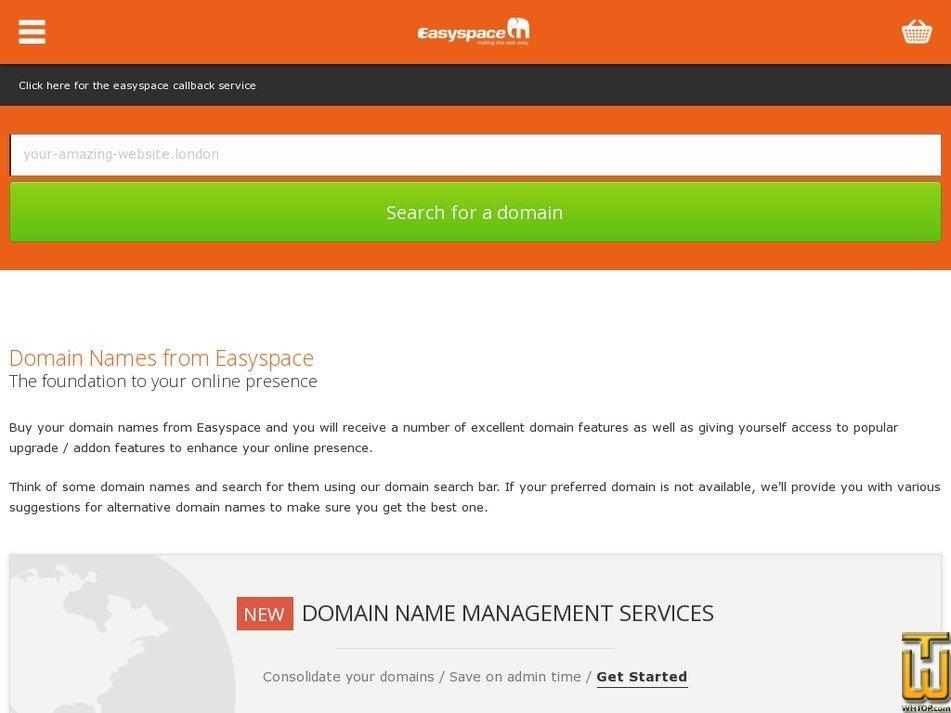 Screenshot of .com from easyspace.com