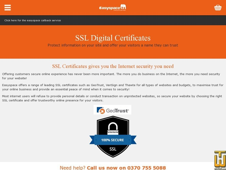 Rapidssl From Easyspace Gbp 3599mo On Ssl Certificates