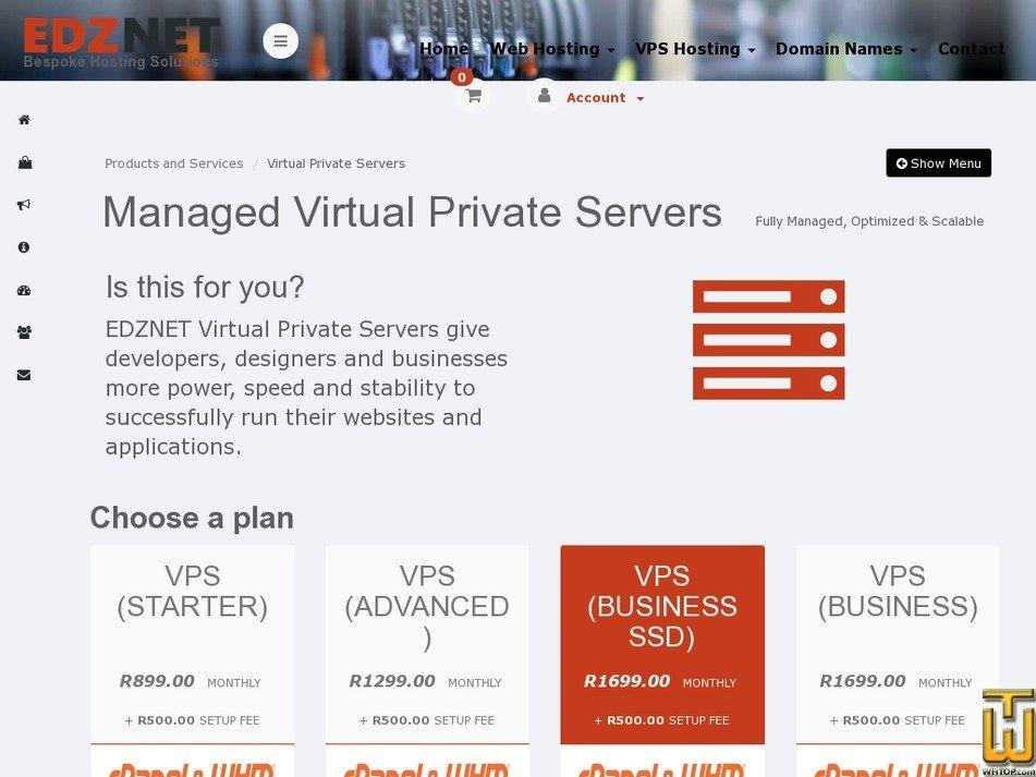 Screenshot of VPS (BUSINESS) from edznet.com