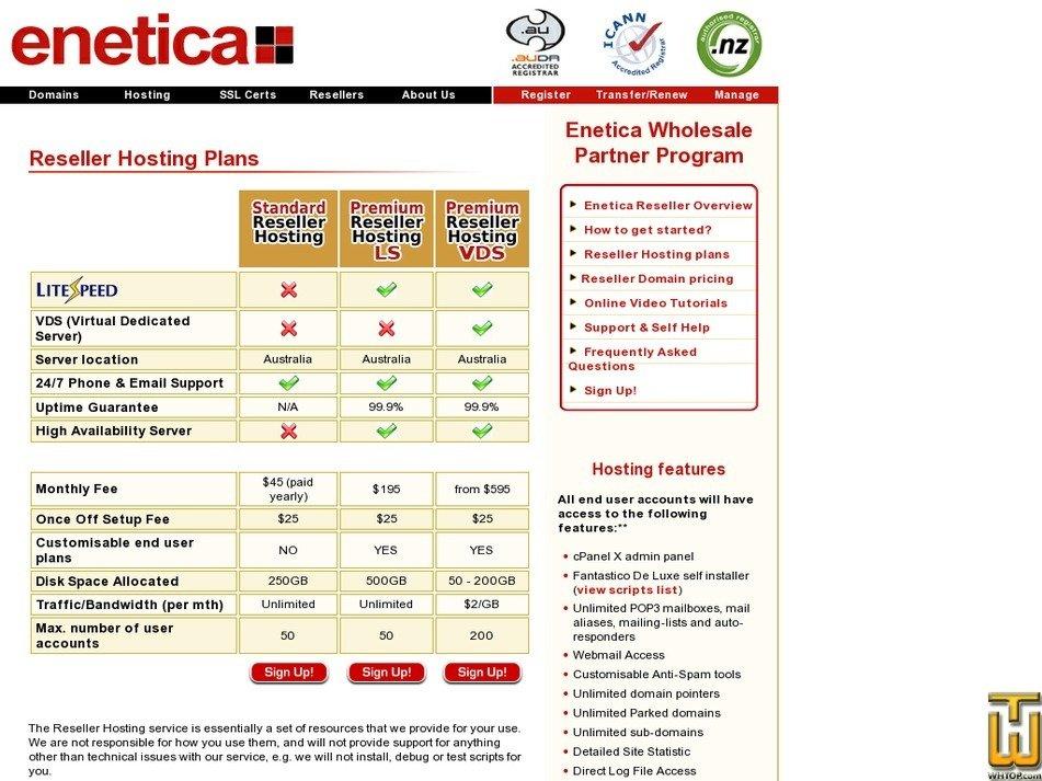 Screenshot of Standard Reseller from enetica.com.au