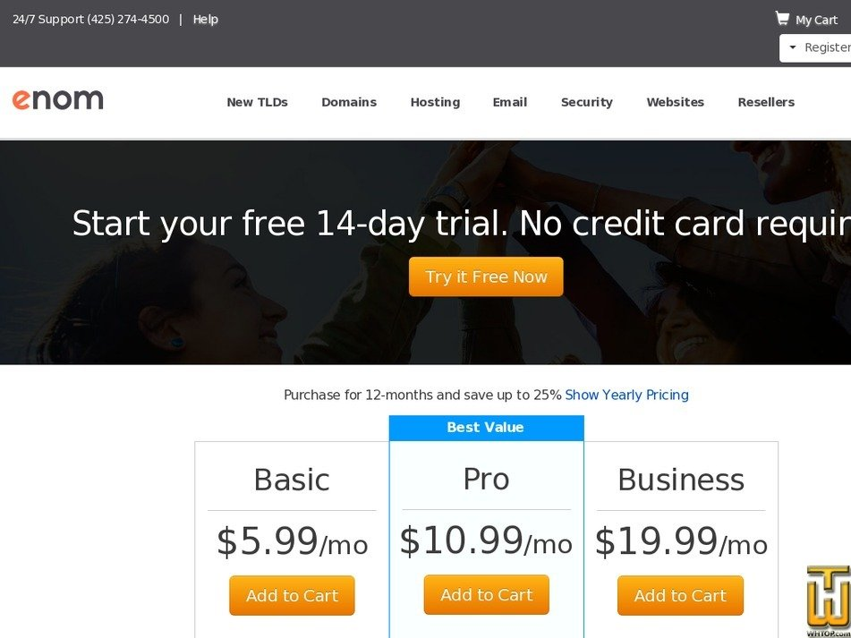 Screenshot of Pro from enom.com