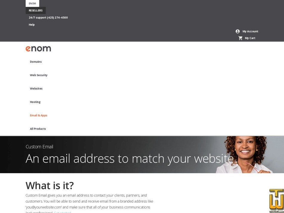 Screenshot of 25 Email Addresses from enom.com