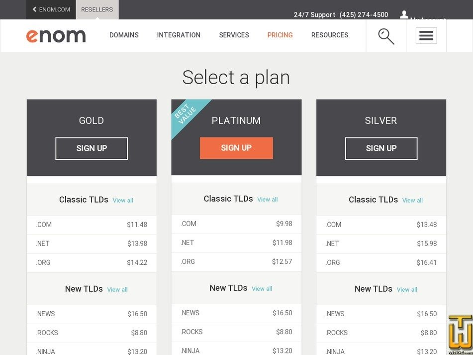 screenshot of Reseller Gold from enom.com