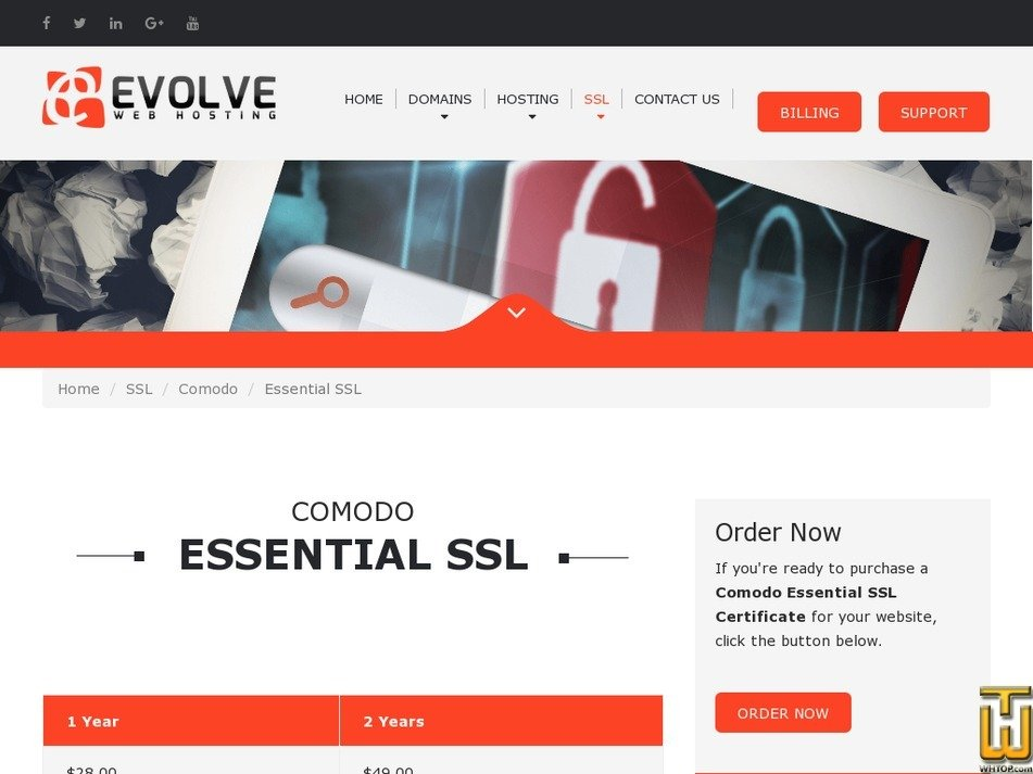 Screenshot of Comodo Essential SSL from evolvewebhost.com