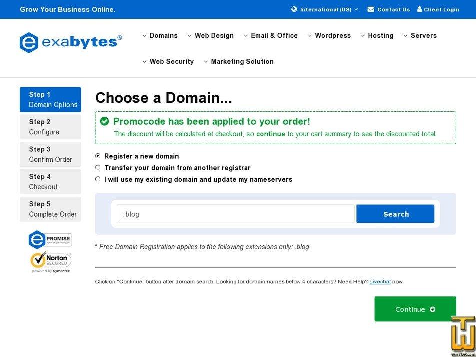 Screenshot of Basic WordPress Hosting from exabytes.com
