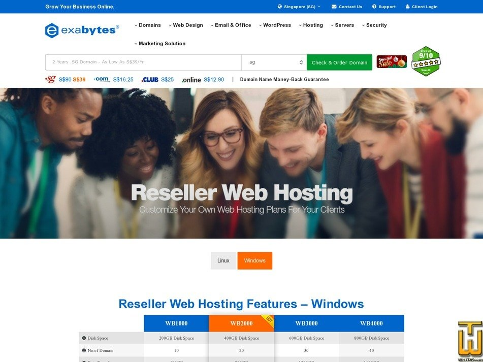 screenshot of Reseller Web Hosting (Linux) -  WB2000 from exabytes.sg