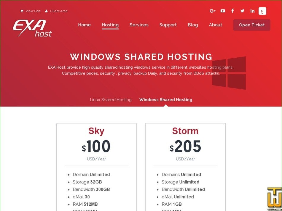 Screenshot of STORM from exahost.com