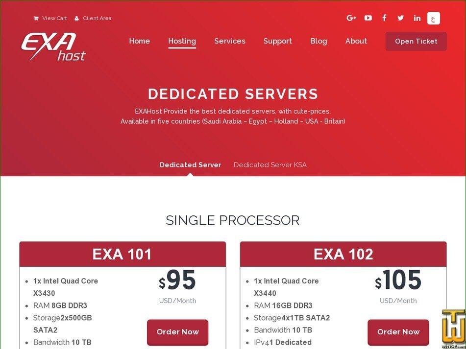 screenshot of Exa K02 from exahost.com