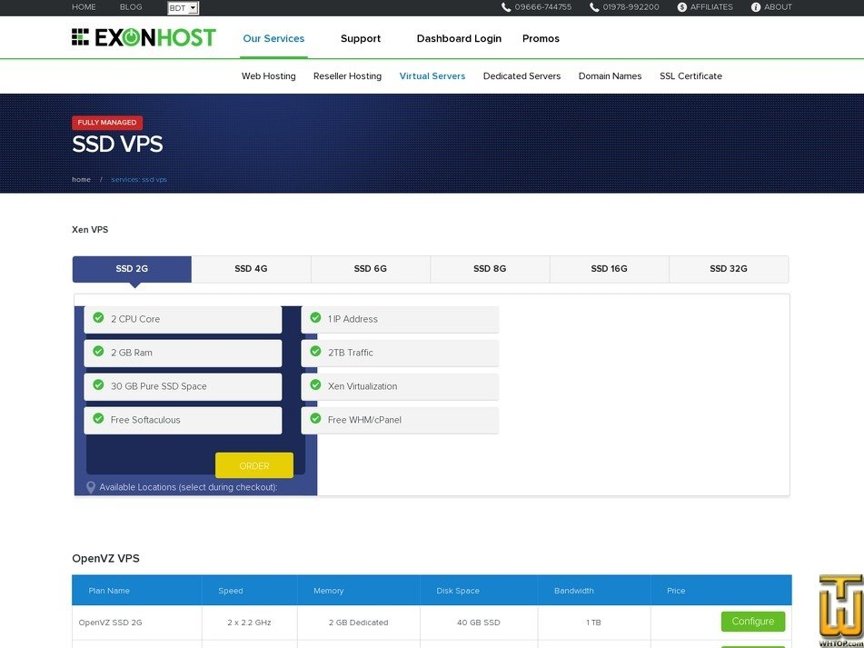 screenshot of OpenVZ SSD 2G from exonhost.com