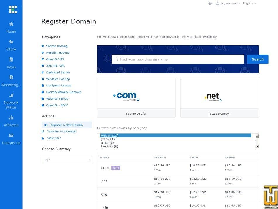 screenshot of .com from exonhost.com