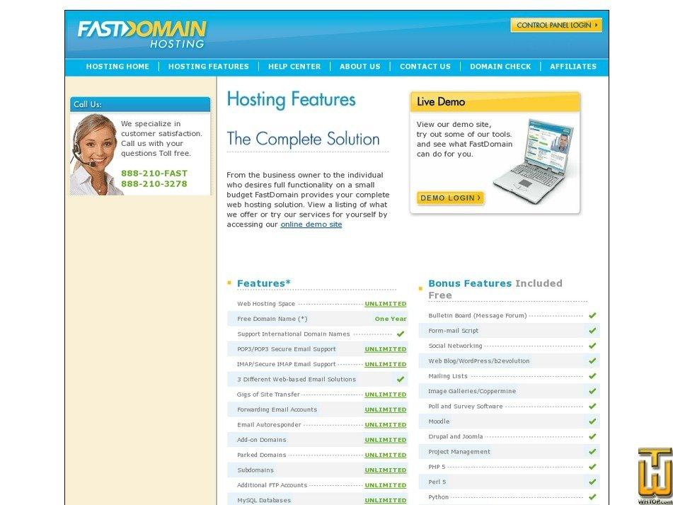 Screenshot of Fastdomain from fastdomain.com