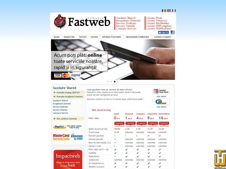 screenshot of ExtremHost from fastweb.ro