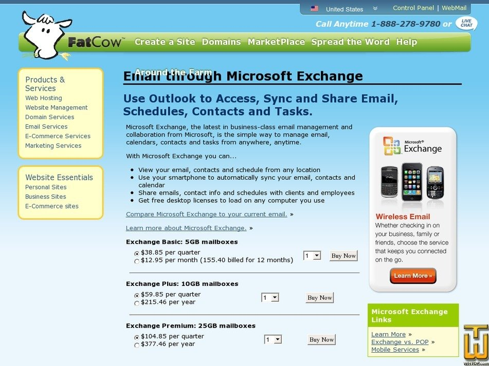 Screenshot of Exchange Basic: 5GB mailboxes from fatcow.com