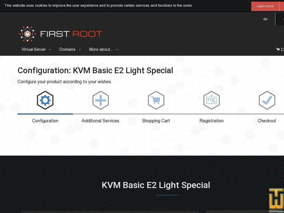 Screenshot of KVM Basic Edition Light Special from first-root.com