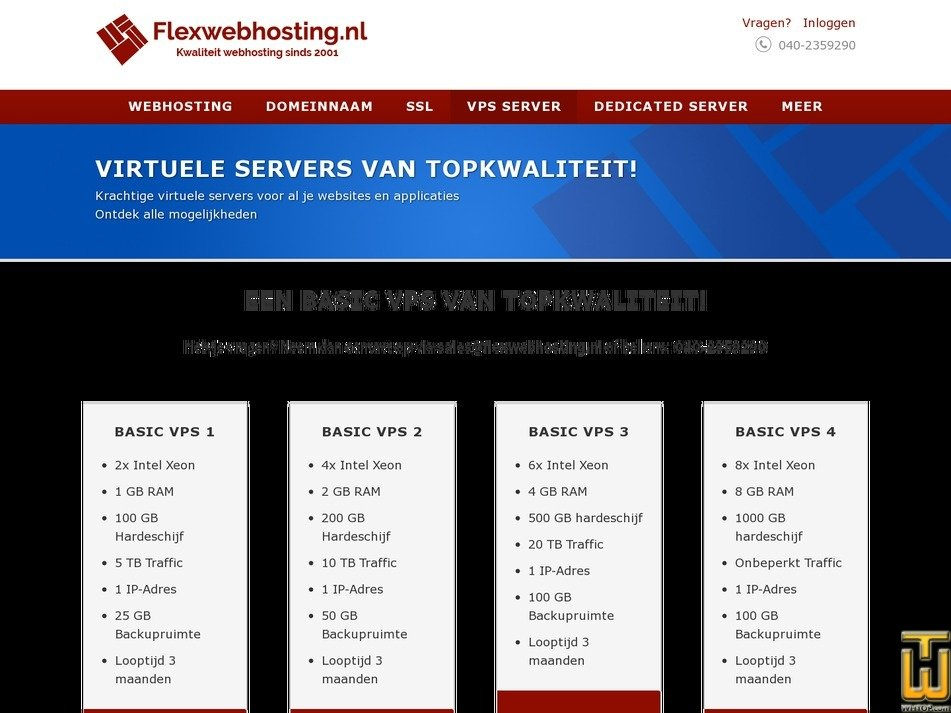 screenshot of BASIC VPS 1 from flexwebhosting.nl