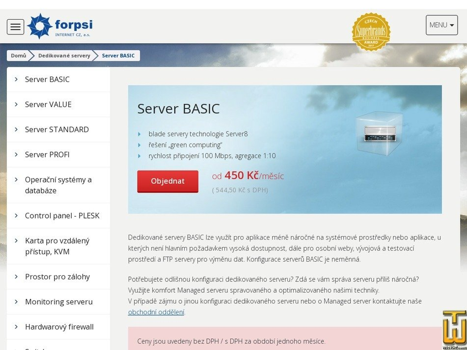 Screenshot of Server BASIC 1.3 from forpsi.com