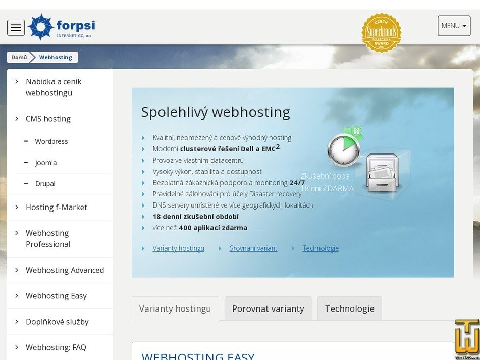 Screenshot of Webhosting Professional from forpsi.com