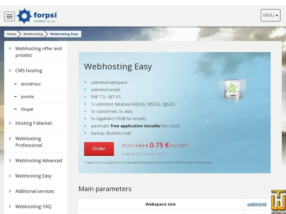 Screenshot of Webhosting Easy from forpsi.com