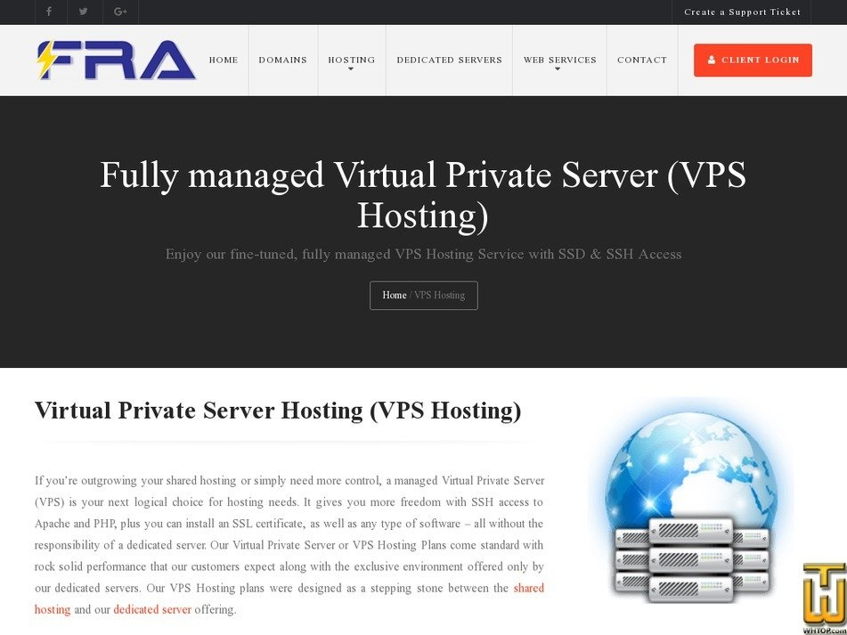 screenshot of VPS F2 from fratechnology.com