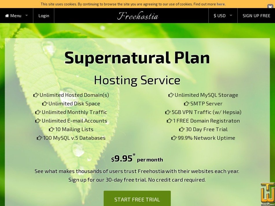 Screenshot of Supernatural Plan from freehostia.com