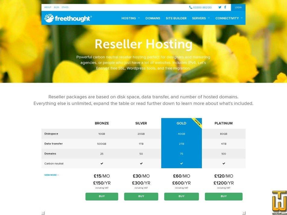 Screenshot of Reseller hosting - Bronze from freethought-internet.co.uk