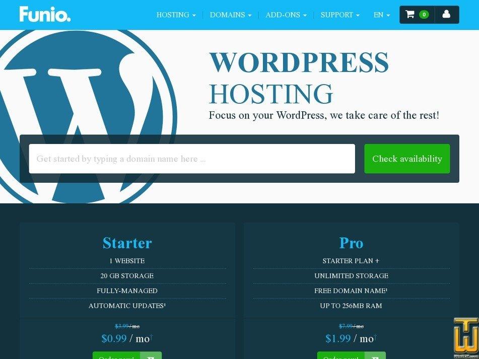 Screenshot of WordPress Starter from funio.com
