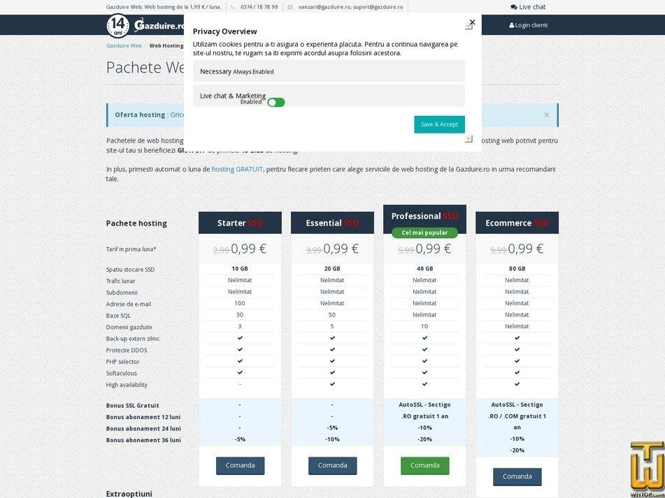 screenshot of Starter from gazduire.ro