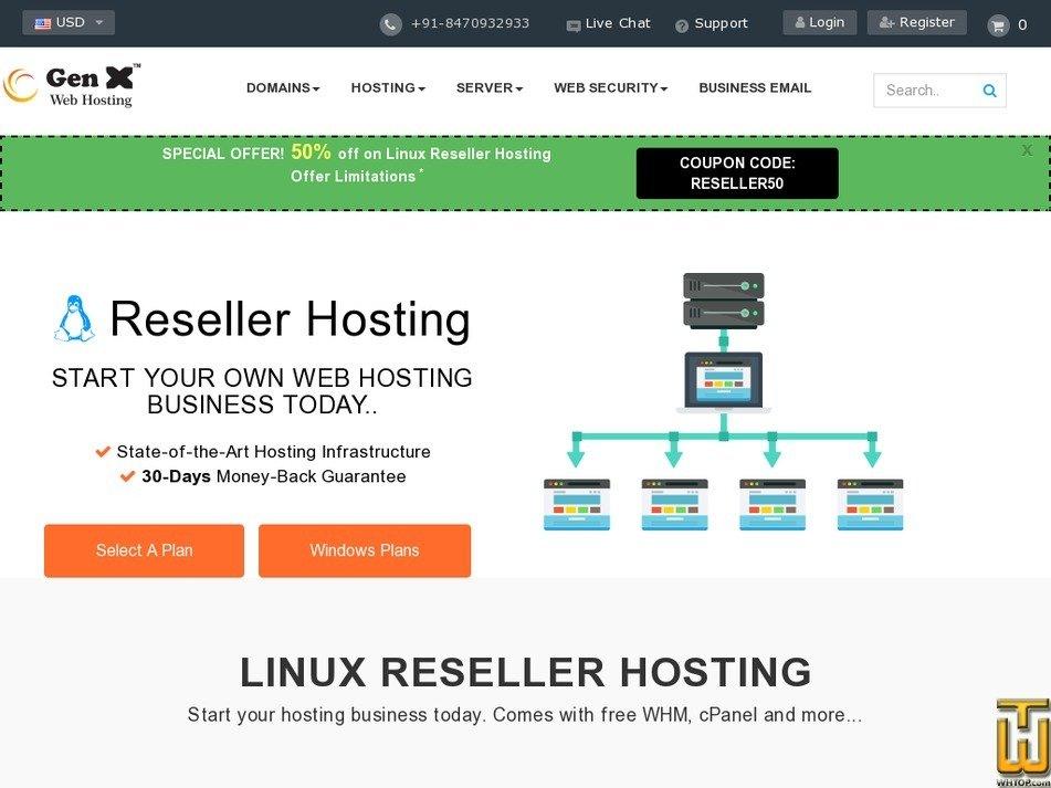 Screenshot of Starter from genxwhosting.com