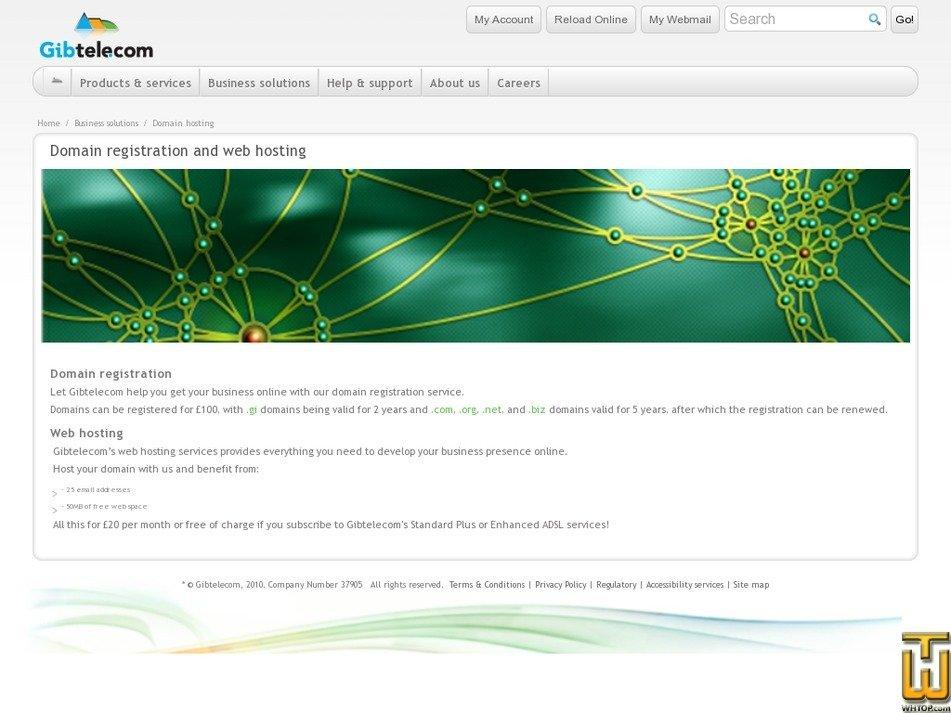 Screenshot of .com from gibtele.com