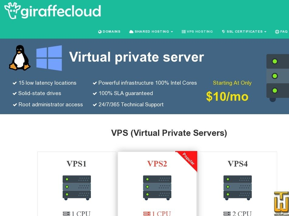Screenshot of VPS4 from giraffecloud.com