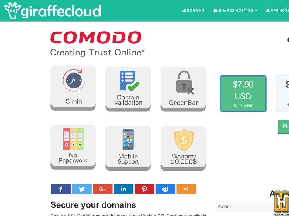Screenshot of Comodo PositiveSSL from giraffecloud.com