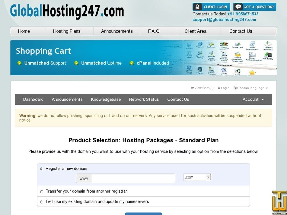 Screenshot of Standard Plan from globalhosting247.com